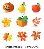 set of autumn icons for design | Shutterstock .eps vector #35982091