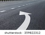 Road marking in white paint on...