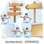 snowman and signpost | Shutterstock .eps vector #35984053