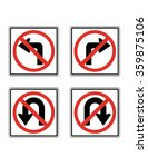 vector no turn traffic sign set | Shutterstock .eps vector #359875106