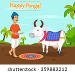 happy pongal celebration with... | Shutterstock .eps vector #359883212