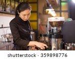waitress serving in modern cafe | Shutterstock . vector #359898776