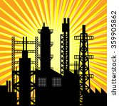 oil refinery silhouette at...   Shutterstock .eps vector #359905862