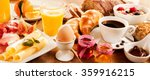 breakfast feast with egg  meat  ... | Shutterstock . vector #359916215