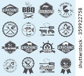 seafood labels and butcher shop  | Shutterstock .eps vector #359922758