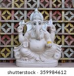 White Lord Ganesha Statue With...