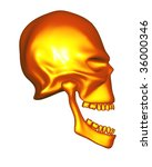 red gold metal alien skull  ... | Shutterstock . vector #36000346