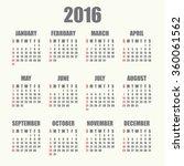calendar 2016 | Shutterstock .eps vector #360061562