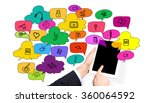 hand holding a tablet  the... | Shutterstock . vector #360064592