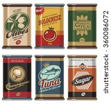 retro food cans vintage vector... | Shutterstock .eps vector #360086072