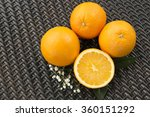 oranges on wicker surface | Shutterstock . vector #360151292