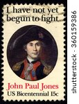 Small photo of UNITED STATES OF AMERICA - CIRCA 1979: A stamp printed in USA shows Portrait of John Paul Jones - Naval Commander, American Revolution series, circa 1979