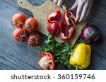 woman's hand preparing salad  | Shutterstock . vector #360159746
