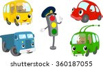 set of cartoon bus  car  lorry  ...
