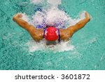 swimmer a butterfly - stock photo