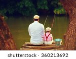 Cute Father And Son Fishing...