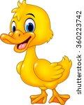 Cartoon Funny Baby Duck Posing...
