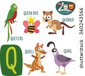cute zoo alphabet in vector. q... | Shutterstock .eps vector #360243566
