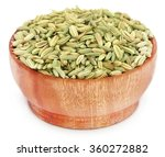 Fennel Seeds In Wooden Pot Ove...