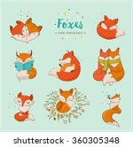 fox characters  cute  lovely... | Shutterstock .eps vector #360305348