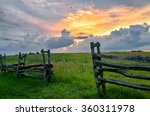 Sunset Over Split Rail Fence...