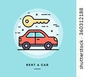 rent a car  flat design thin... | Shutterstock .eps vector #360312188
