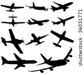 assorted plane silhouettes... | Shutterstock .eps vector #36031771