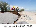 two civil engineer check beach... | Shutterstock . vector #360318038