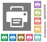 printer flat icon set on color...