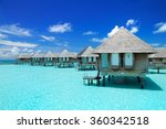 maldivian water bungalows with... | Shutterstock . vector #360342518
