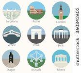 europe landmarks icons set  ... | Shutterstock .eps vector #360342602