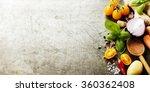 wooden spoon and ingredients on ... | Shutterstock . vector #360362408