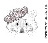 hipster. raccoon in the crown.... | Shutterstock .eps vector #360363146