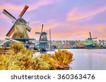 Stock photo unique old authentic real working windmills in the suburbs of amsterdam the netherlands 360363476