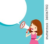 girl with megaphone... | Shutterstock .eps vector #360367502