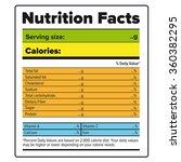 nutrition facts label vector... | Shutterstock .eps vector #360382295