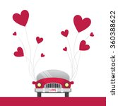 Car With Red Heart Balloons In...