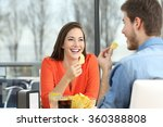 cheerful couple talking and... | Shutterstock . vector #360388808