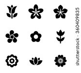 vector black flowers icon set. | Shutterstock .eps vector #360409835