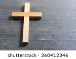 wooden cross on rusty black... | Shutterstock . vector #360412346