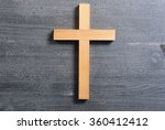 wooden cross on rusty black... | Shutterstock . vector #360412412