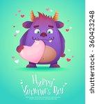 cute cartoon monster in love... | Shutterstock .eps vector #360423248