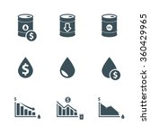 oil price icon set. drop in oil ... | Shutterstock .eps vector #360429965