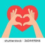 two hands making heart sign.... | Shutterstock .eps vector #360449846