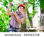 adventure climbing high wire... | Shutterstock . vector #360465158