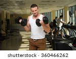 guy in gym. young sportsman... | Shutterstock . vector #360466262