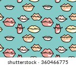lips seamless pattern blue | Shutterstock .eps vector #360466775
