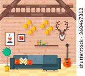 cozy comfortable modern loft... | Shutterstock .eps vector #360467312