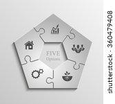 five piece flat puzzle round... | Shutterstock .eps vector #360479408