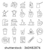 thin line coffee vector icon set